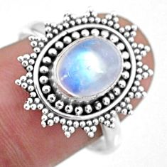 925 silver 3.50cts natural rainbow moonstone oval solitaire ring size 8 r57460
