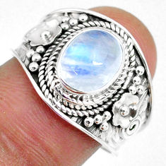 925 silver 3.02cts natural rainbow moonstone oval solitaire ring size 8 r58360