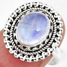 925 silver 3.99cts natural rainbow moonstone oval solitaire ring size 8 r58955