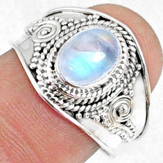 925 silver 2.00cts natural rainbow moonstone oval solitaire ring size 8 r69163