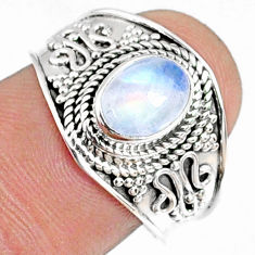 925 silver 1.96cts natural rainbow moonstone oval solitaire ring size 8 r69179