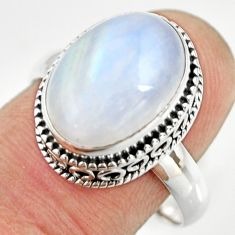 925 silver 6.85cts natural rainbow moonstone oval solitaire ring size 9 r26315