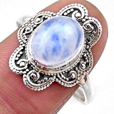 925 silver 4.29cts natural rainbow moonstone oval solitaire ring size 9 r54499