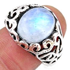925 silver 5.75cts natural rainbow moonstone oval solitaire ring size 9 r54620