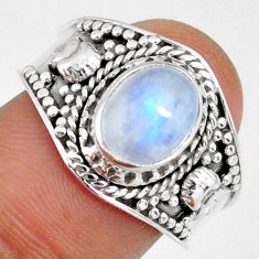 925 silver 3.06cts natural rainbow moonstone oval solitaire ring size 9 r58345
