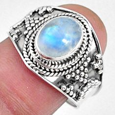 925 silver 3.26cts natural rainbow moonstone oval solitaire ring size 9 r58395