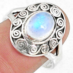 925 silver 2.00cts natural rainbow moonstone oval solitaire ring size 9 r68896