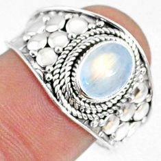 925 silver 2.13cts natural rainbow moonstone oval solitaire ring size 9 r69167