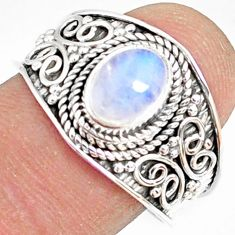 925 silver 2.14cts natural rainbow moonstone oval solitaire ring size 9 r81465