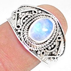 925 silver 2.08cts natural rainbow moonstone oval solitaire ring size 9 r81468