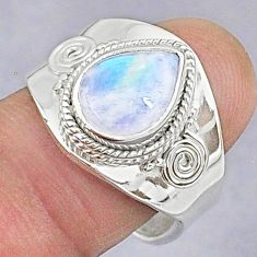 925 silver 3.75cts natural rainbow moonstone pear adjustable ring size 7 t8604