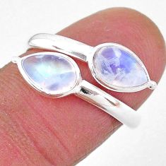 925 silver 4.48cts natural rainbow moonstone pear adjustable ring size 8 t1677