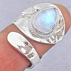 925 silver 4.43cts natural rainbow moonstone pear adjustable ring size 6.5 t8568