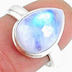 6.19cts natural rainbow moonstone pear solitaire handmade ring size 7.5 r74064