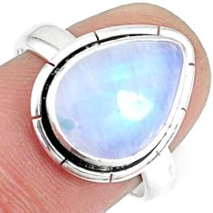 5.56cts natural rainbow moonstone pear solitaire handmade ring size 7.5 r74074