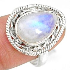 925 silver 6.34cts natural rainbow moonstone pear solitaire ring size 8.5 r76794