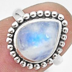 925 silver 4.08cts natural rainbow moonstone pear solitaire ring size 5 r26599