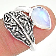 925 silver 2.58cts natural rainbow moonstone pear solitaire ring size 8 r36933