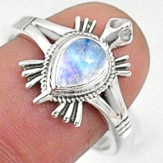 925 silver 1.54cts natural rainbow moonstone pear solitaire ring size 8 r68799
