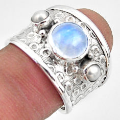 925 silver 4.92cts natural rainbow moonstone pearl solitaire ring size 7 r49819