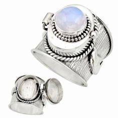 925 silver 4.51cts natural rainbow moonstone poison box ring size 6.5 r26664