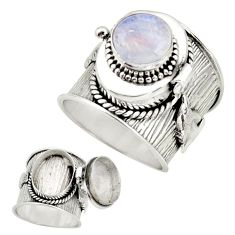 925 silver 4.51cts natural rainbow moonstone poison box ring size 9.5 r26667