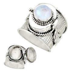 925 silver 4.90cts natural rainbow moonstone poison box ring size 9.5 r26670