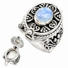 925 silver 4.73cts natural rainbow moonstone poison box ring size 8.5 r26698