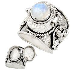 925 silver 4.59cts natural rainbow moonstone poison box ring size 8 r26623