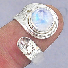 925 silver 3.11cts natural rainbow moonstone round adjustable ring size 7 t8575