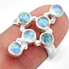 925 silver 2.69cts natural rainbow moonstone round holy cross ring size 6 d46560