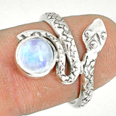 925 silver 2.39cts natural rainbow moonstone round snake ring size 7 r78636