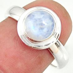925 silver 2.32cts natural rainbow moonstone round solitaire ring size 6 r34216