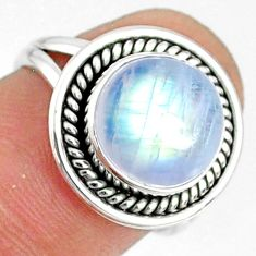 925 silver 5.38cts natural rainbow moonstone round solitaire ring size 6 r76372