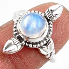 925 silver 2.90cts natural rainbow moonstone round solitaire ring size 7 r41438