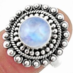 925 silver 5.08cts natural rainbow moonstone round solitaire ring size 7 r52559