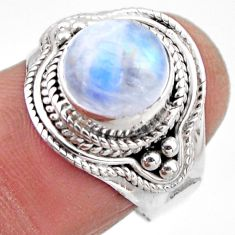 925 silver 4.69cts natural rainbow moonstone round solitaire ring size 7 r53294