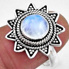 925 silver 3.41cts natural rainbow moonstone round solitaire ring size 7 r54335