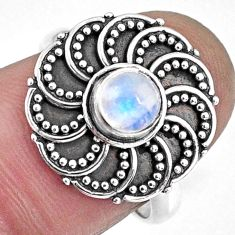 925 silver 0.88cts natural rainbow moonstone round solitaire ring size 7 r57900
