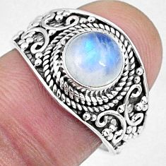 925 silver 2.39cts natural rainbow moonstone round solitaire ring size 7 r58040