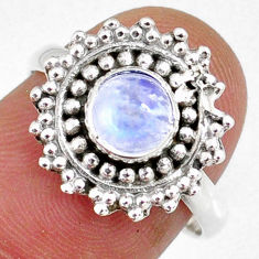 925 silver 1.30cts natural rainbow moonstone round solitaire ring size 7 r58179