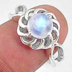 925 silver 2.42cts natural rainbow moonstone round solitaire ring size 7 r68698