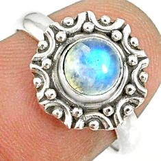 925 silver 1.28cts natural rainbow moonstone round solitaire ring size 7 r82178