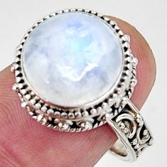 Clearance Sale- 925 silver 7.12cts natural rainbow moonstone round solitaire ring size 8 d39060