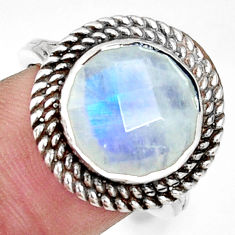 925 silver 6.79cts natural rainbow moonstone round solitaire ring size 8 r33393