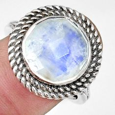 925 silver 7.02cts natural rainbow moonstone round solitaire ring size 8 r33399