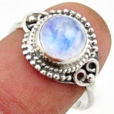 925 silver 3.05cts natural rainbow moonstone round solitaire ring size 8 r41600