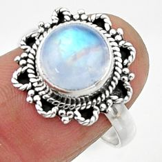 925 silver 4.63cts natural rainbow moonstone round solitaire ring size 8 r52524