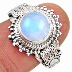 925 silver 5.30cts natural rainbow moonstone round solitaire ring size 8 r53636