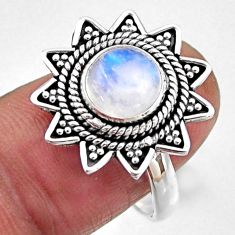 925 silver 3.01cts natural rainbow moonstone round solitaire ring size 8 r54340
